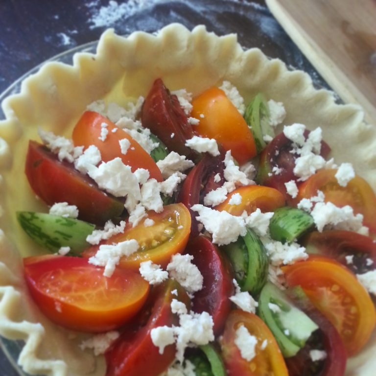 Heirloom tomato pie layer
