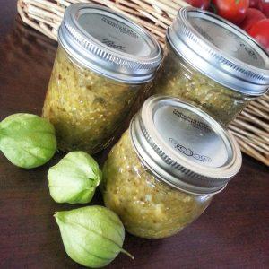Roasted tomatillo salsa verde jars