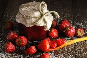 homemade strawberry jam with elderflower