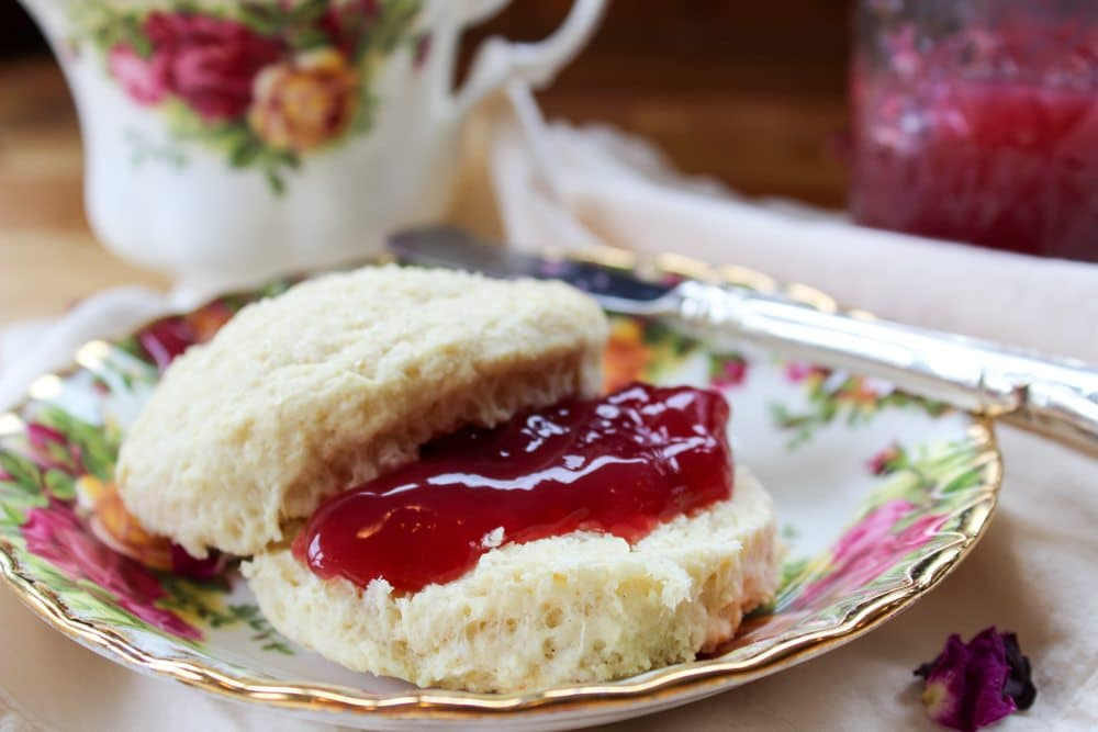 wild rose petal jelly with scottish scone