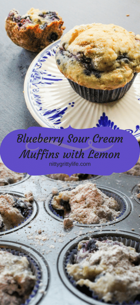 Blueberry Sour Cream Muffins with Lemon