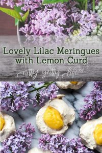 Lovely Lilac Meringues with Lemon Curd