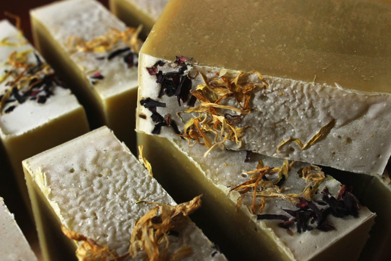 This herbal cold process soap with summery flowers like chamomile and calendula offers a luxurious lather with cooling and calming skin nourishment.