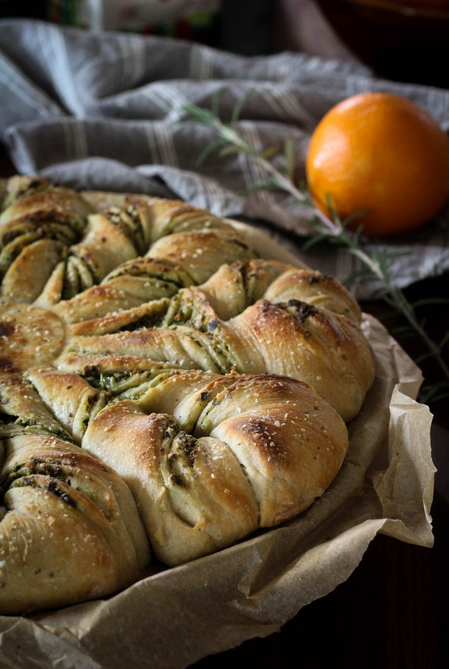 savory tear and share star bread filled with evergreen pesto